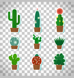 cactus icons set on transparent background vector image