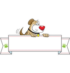 Cartoon dog holding a banner sign vector