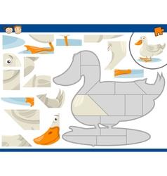 Cartoon duck jigsaw puzzle task vector