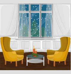 Classic livingroom interior cartoon style vector