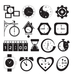 clock and time icons vector image vector image