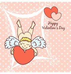 cupid cute card for Valentines Day vector image