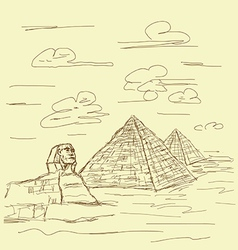 egypt pyramid vintage vector image vector image