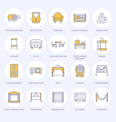 Event supplies flat line icons party equipment - vector