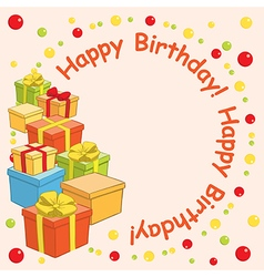 Happy birthday - background with gift boxes vector