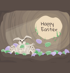 happy easter card background with rabbit vector image vector image