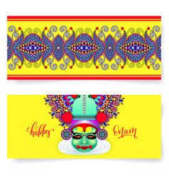 Happy onam holiday horizontal greeting card banner vector