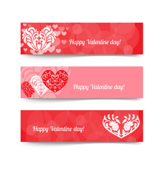 happy valentine day red banner vector image vector image