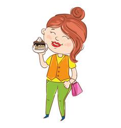 Happy young girl cartoon character vector