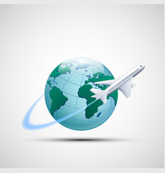 Icon plane flies around the earth planet business vector