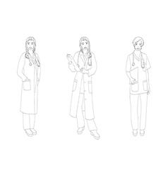 Medical staff woman full body vector