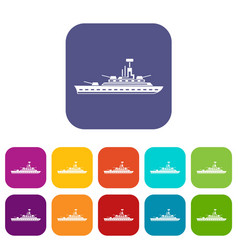 military warship icons set vector image