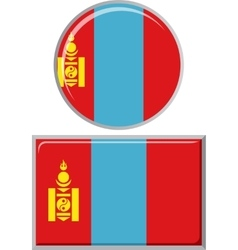 Mongolian round and square icon flag vector