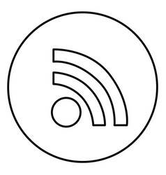Monochrome contour circular frame with wifi icon vector