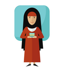 muslim girl student with books vector image vector image