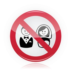 No marriage no wedding no love warning red sign vector image vector image