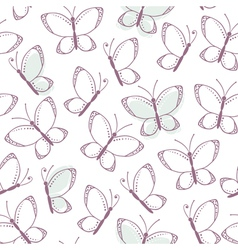 Outline seamless pattern with butterflies vector