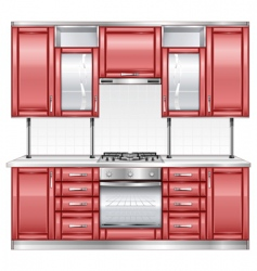 red kitchen vector image