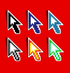 Set of pixeled cursors vector image vector image