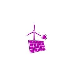 solar panel icon and wind turbine icon vector image