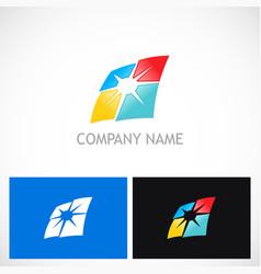 square sun shine colored company logo vector image