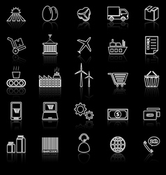 Supply chain line icons with reflect on black vector