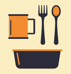 tableware cup plastic dishes kitchen restaurant vector image
