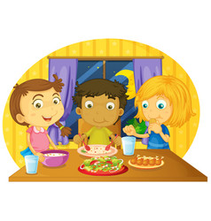 three kids having meal on the table vector image vector image