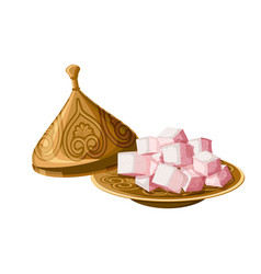 Turkish delight locum traditional sweets on vector