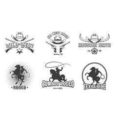 Wild west and rodeo labels vector