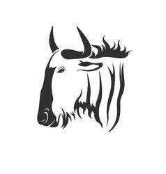 wildebeest head on white background wild vector image