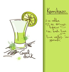 With hand drawn kamikaze cocktail vector