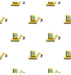 Yellow mini excavator pattern flat vector