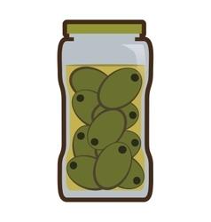 Olives in jar preserve food vector