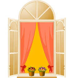 The wood window with pansy in flowerpot vector