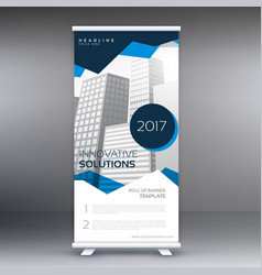 Abstract geometric roll up banner template vector