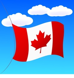 Canada flag on blue sky vector