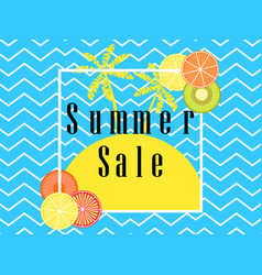 Summer sale banner layout with fruits and palm vector
