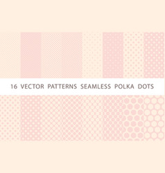 16 patterns seamless polka dots pink set vector image vector image