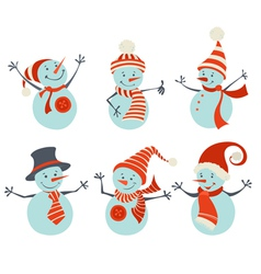 Set of retro snowmen vector