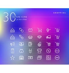 Shopping retail outline icons set vector image