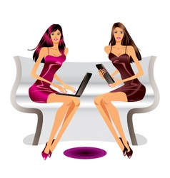 Two fashion models with laptop and tablet vector