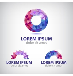 abstract circle round crystal colorful icon vector image