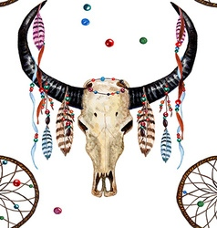 Buffalo skull dreamcatcher feather pattern vector