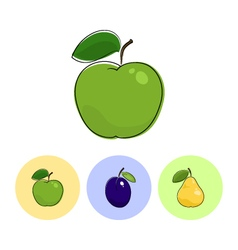 Fruit icons apple plum pear vector