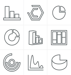 Line icons style simple set of diagram and graphs vector