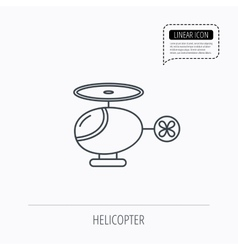 Helicopter icon urban air transport sign vector