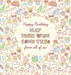 Happy birthday party invitation with hand drawn vector