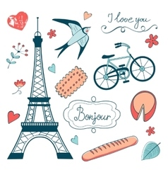 Beautiful collection of paris related graphic vector