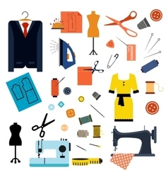Sewing or tailoring flat icons and items vector